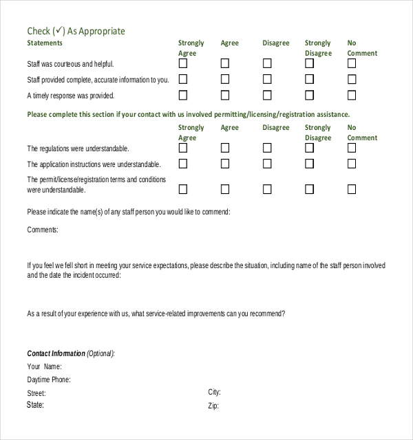 Service Feedback Surveys  Survey Templates And Worksheets