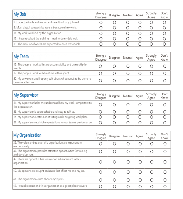 25 employee surveys survey templates and worksheets for Employee satisfaction survey template word