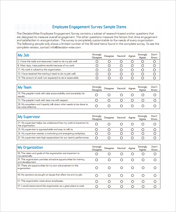 Employee Attitude Survey Questionnaire Sample