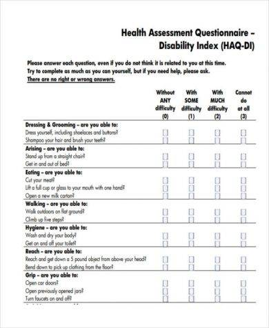 Health Assessment Template Pdf Word Docs Survey Templates And