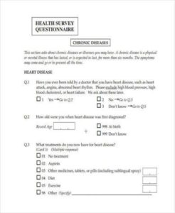 Health Survey Template | Health Survey Template Pdf Word Docs Survey Templates And Worksheets