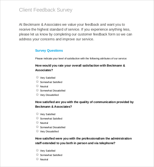 volunteer satisfaction survey template - download all types of survey templates survey templates