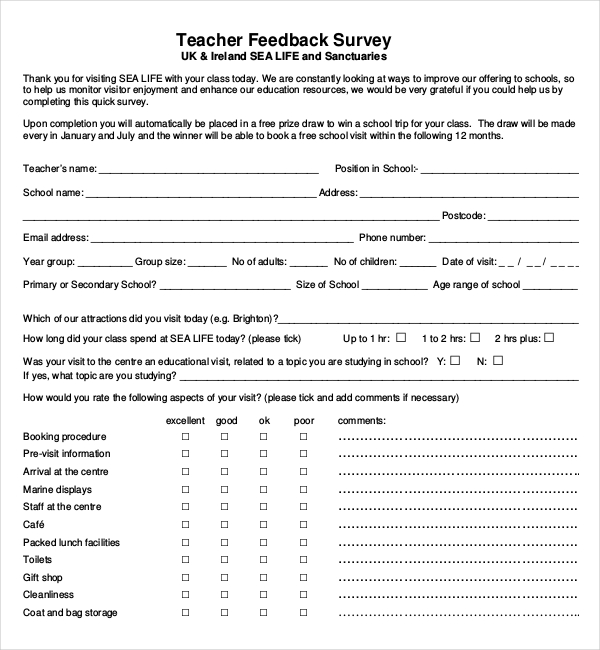 MsWordTeacherFeedbackSurveyTemplatePdf  Survey Templates And