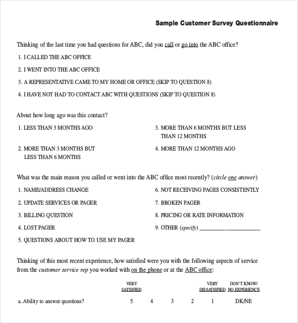 free questionnaire template word