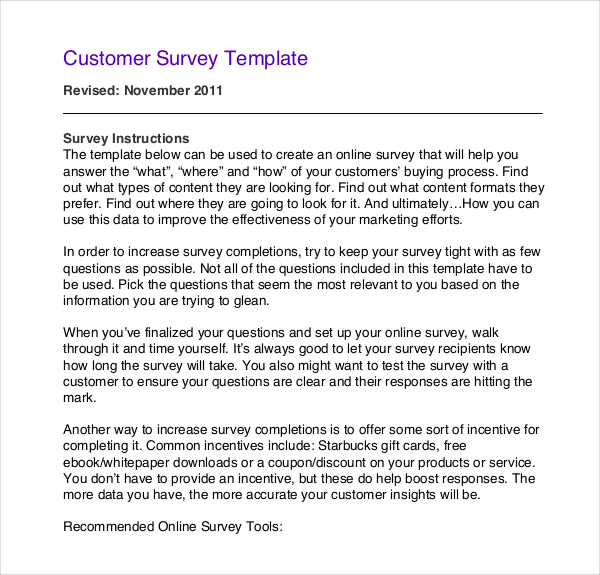 50 Printable Survey Templates | Survey Templates and Worksheets