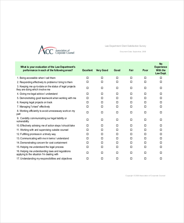 Legal Service Survey Sample | Survey Templates and Worksheets