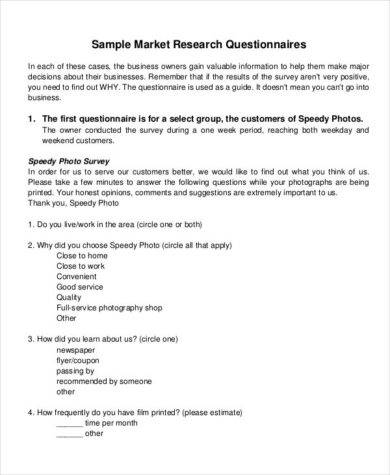 questionnaire format for research paper