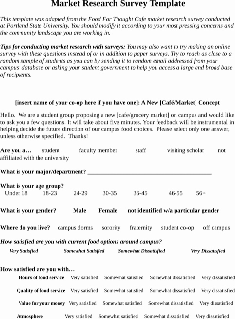 marketing survey form template awesome research survey example