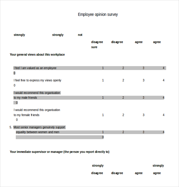 printable doc pdf employee opinion survey template example format
