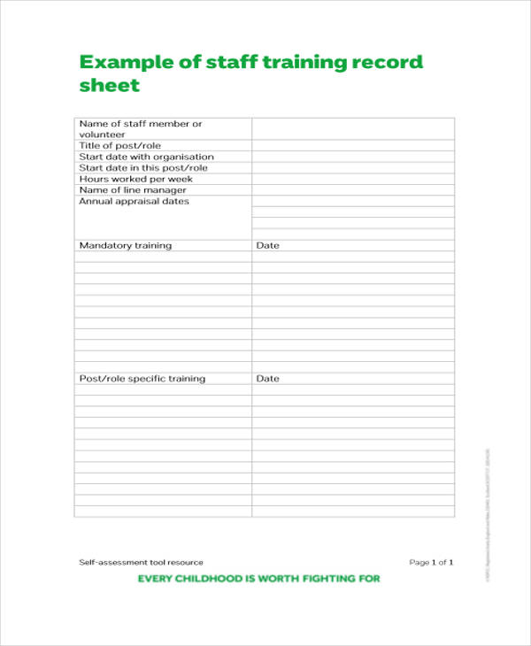 Training Attendance Record Template | Survey Templates and ...